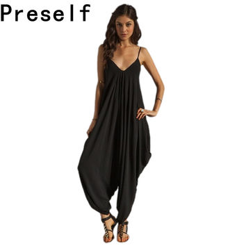 2016 Summer Women's Harem Romper Jumpsuit Coveralls Playsuit with Spaghetti Strap and Deep V-Neck Plus Size