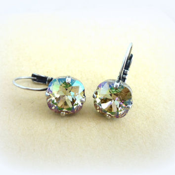 NEW Swarovski golf size crystal lever-back earrings, Square cut Luminous Green,  designer inspired crystal earrings by Siggy