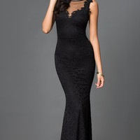 Dresses, Formal, Prom Dresses, Evening Wear: Black Sleeveless Lace Floor Length Open Back Dress