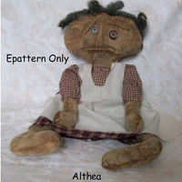 primitive doll pattern, epattern, pattern, white doll pattern, OOAK personally designed, Althea, - 317
