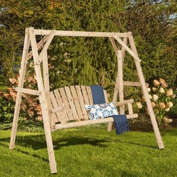 Giantex Rustic Wooden Porch Swing Bench W/A-Frame Stand Set Natural Garden Furniture NEW Outdoor Furniture OP3545+