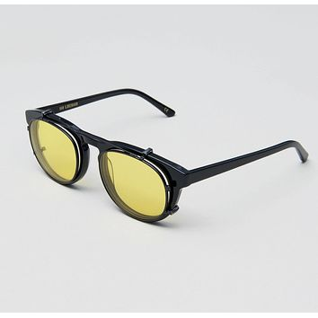 Han Kjobenhavn - Timeless Clip On 50mm Black Sunglasses / Yellow Lenses
