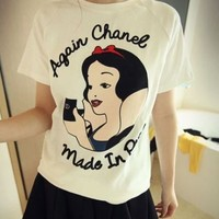 Kawaii Snow White Cartoon Printing Short Sleeve Shirt - White or Pink from Tobi's Finds