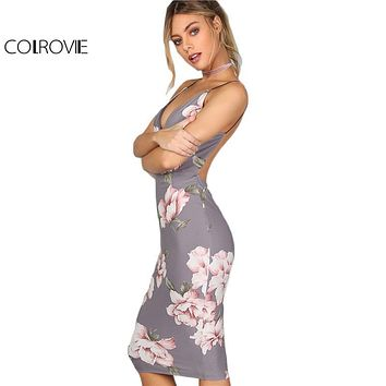 COLROVIE Bodycon Party Dress Women Grey Floral Sexy Backless Slip Summer Dresses 2017 Fashion Plunge Neck Elegant Midi Dress