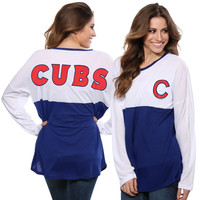 Chicago Cubs Concepts Sport Women's Comeback Long Sleeve T-Shirt - White/Royal