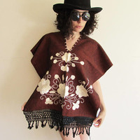 Vintage 70s Brown Mexican South American Boho Hippie Festival Embroidered Flowers Fringe Poncho