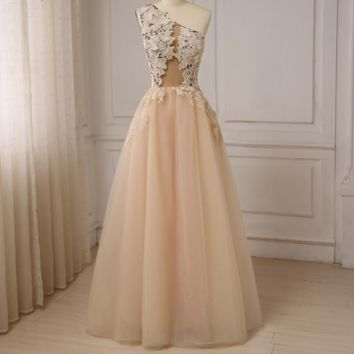 Sexy One-shoulder Evening Dresses Floor Length Applique Beaded Tulle Prom Evening Gowns