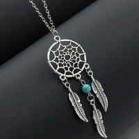 N720 Dream Catcher Pendant Necklace Feather Turquiose Bead Women Fashion Jewelry Chain Necklaces Bijoux Collares 2017