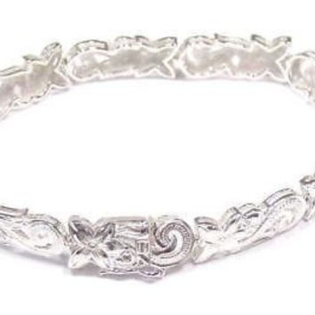 SILVER 925 HAWAIIAN PLUMERIA FLOWER SCROLL CUT OUT BRACELET 7""