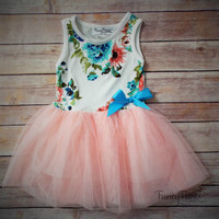 Easter Spring Blush Pink Floral Toddler Girls Tutu Dress,Vintage Dress,  Beach Wedding, Easter, girls dress, baby aqua,turquoise
