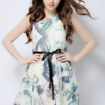 Printed Sleeveless Lace Belted A-Line Mini Dress