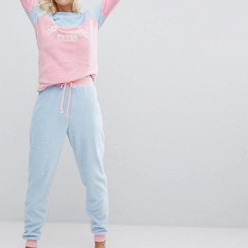 Chelsea Peers Fuzzy Do Nothing Club Long Pyjama Set at asos.com