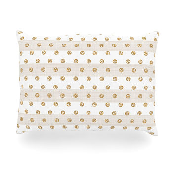 "Pellerina Design ""Linen Polka Stripes"" Gold Dots Oblong Pillow"