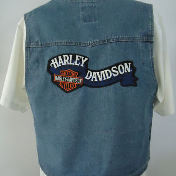 Harley Davidson Motorcycle Denim Embroidered Jean Riding Vest Sz XL Licensed Genuine Vintage MotorClothes Biker Gear