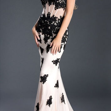 Black Label Couture 49 Lace Corset Sheer Illusion Evening Gown Prom Dress