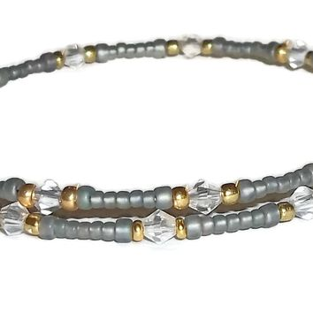 Plus Size Elegance Grey Myuki Beads, Gold &Clear Glass Beaded Stackables Artisan Crafted Bangle Wrap Bracelet