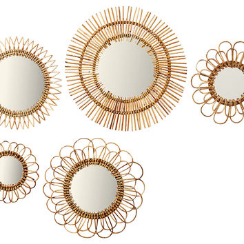 Natural Rattan Wall Mirrors Set Of 5 Small Accent