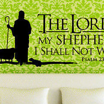 The Lord is My Shepherd - Psalm 23 quote wall sticker decal wall art decor 5540