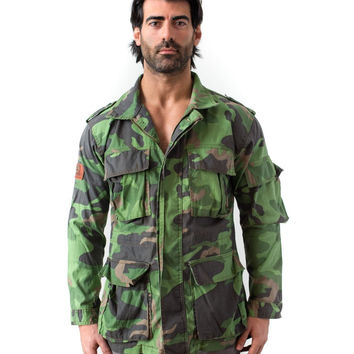 Seven Denim Men's 5-Pocket Zip Button Mid Long Trench Coat Army Green Camouflage Jacket