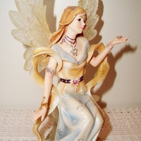 eBlueJay: Angels Around Us Angel of Hope Figurine Yellow Religious Guardian Snow Flakes