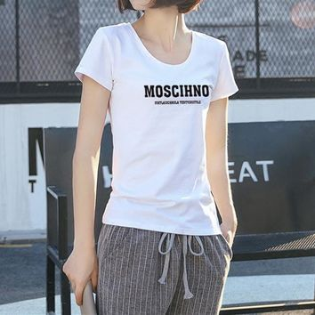 """""""Moschino"""" Women Casual Simple Letter Print Short Sleeve Bodycon T-shirt Top Tee"""