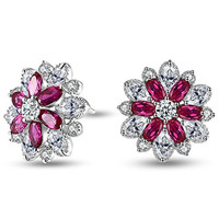 Caperci Sterling Silver Cubic Zirconia and Created Ruby Flower Stud Earrings for Women