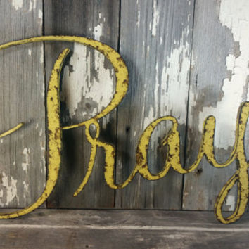 Rustic Pray mustard yellow sign shabby chic wall hanging home decor photo prop cottage farmhouse primitive gift aged style personalized
