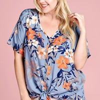 Aloha Blue Floral Top | Plus