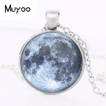 Fashion Silver Full Moon Logo Pendant Necklace Art Vintage Chain Choker Statement Necklace Jewelry Gift For Men HZ1