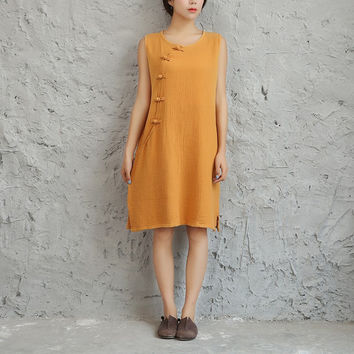 Solid White Yellow Red Sleeveless Women Tank Dress Cotton Linen Chinese style Casual Summer Dress Kawaii Cute Brief Dresses 5039