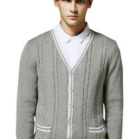 Light Grey Cable Knit V-Neck Long Sleeves Cardigan