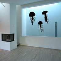 Jellyfish Silhouettes Set of Three Vinyl Wall Decals 22513