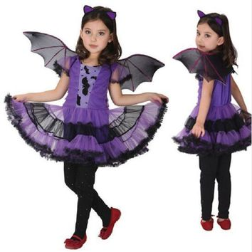 Bat Dress For Girls With Wings Fairy Princess Dance Batman Baby Child Carnival Christmas Halloween Costume For Kids