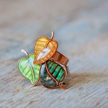 Adjustable Ring - Green Golden Leaves