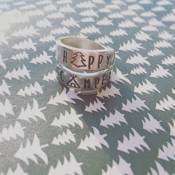 happy camper ring for nature, tent, tree summer lover, aluminium ring