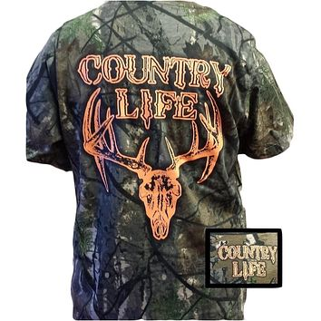 Country Life Outfitters Bone Realtree Camo Orange Deer Skull Head Hunt Vintage Unisex Bright T Shirt