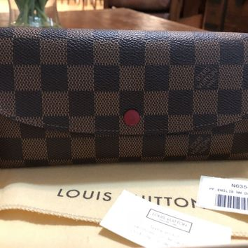 Authentic Louis Vuitton Emilie Wallet Damier Ebene