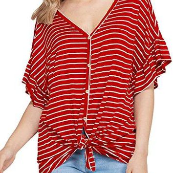Naggoo Womens Button Down Loose Fit Casual Tops Short Sleeve Tie Front Knot Striped Blouses Tee Shirts