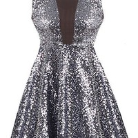 Sparkle Bomb Dress | Charcoal Black Sequin Skater Dresses | RicketyRack.com