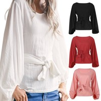 Women Long Lantern Sleeve Waist Tie Blouse Top Casual Loose Party Shirt