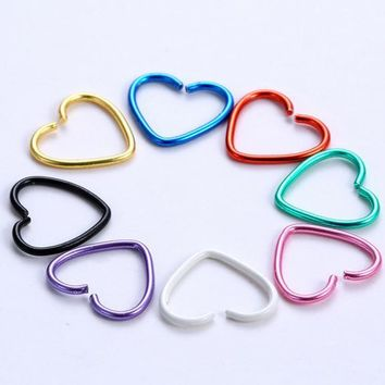 40pcs/pack Heart Star Shape 316L Stainless Steel Earrings Nose Lip Tragus Piercing Labret Hoop Rings Body Pircings Nariz Jewelry