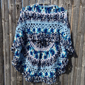 Crocheted Poncho Ocean Weaves Handmade Unbalanced Design In Tones of Blue