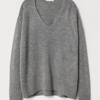 Fine-knit Sweater - Blue melange - Ladies | H&M US