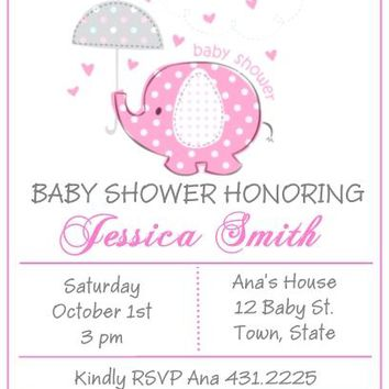 10 Pink Baby Elephant Baby Shower Invitations