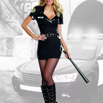 Sexy Black 6 Pc. Dirty Cop Officer Anita Bribe Costume