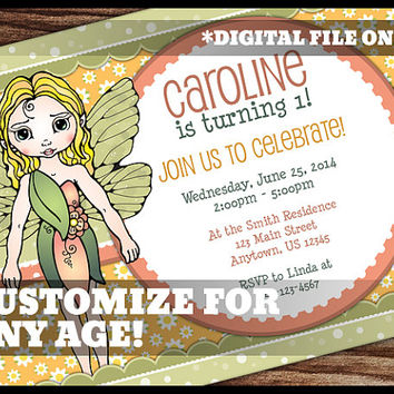 Fairy Theme 1st Birthday Invitation Fairies Fantasy Orange Green Girl Girly Birthday Party Digital Printable Customized Personalized 5x7
