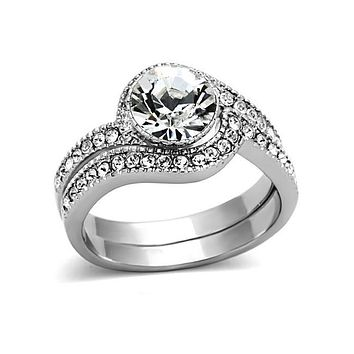 Together As One - Women's Stainless Steel Intertwined Rings With Cz Stones