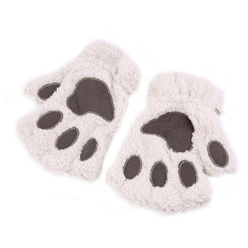 New Arrival Winter Women Gloves Cute Fluffy Bear Plush Paw Glove Girl Novelty Soft Half Covered Mittens Gloves RT5