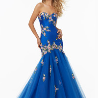 Mori Lee 99077 Embroidered Flowers Prom Dress