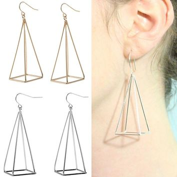 ES283 3D Steampunk Drop Earring Exaggeration Extremely Simple Triangle Jewelry Fashion Geometry Pyramid Pendant Earrings 2018